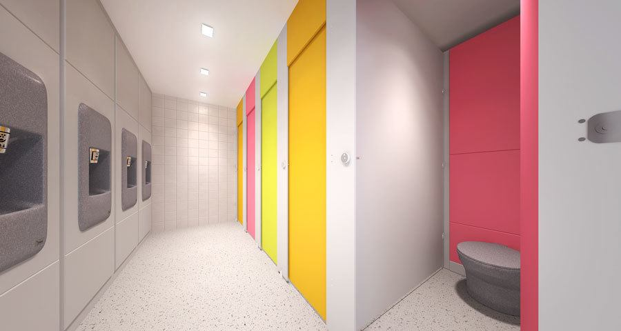 Floor to Ceiling Toilet Cubicles Lan Services